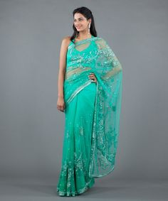 Channel your inner mermaid! Ocean grean saree with crystals