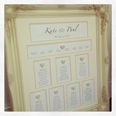 Kate & Paul's Cupid Table Plan, a wedding essential! More frame seating charts at http://www.toptableplanner.com/blog/mirror-and-frame-wedding-seating-plans
