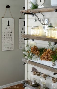 Happy Holidays Home Tour with Country Living Magazine industrial pipe shelving decorated for Christmas farmhouse style via dandelionpatina.com