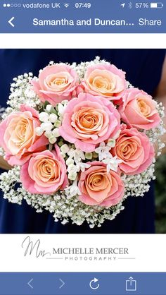 Miss piggy roses Gorgeous bridal bouquet for coral themed wedding