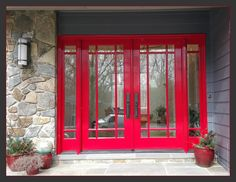 Mahogany Doors Transformed with Fine Paints of Europe Hollandlac Brilliant Paint. Fine Paints Of Europe, Painting Services, Under Construction, Custom Paint, Windows, House, Price Book, Front Doors, Red