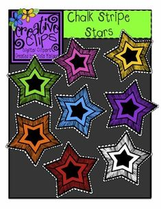 Free Chalk Stripe Star Clipart! Works great layered on a chalk background or plain white. Personal and commercial use allowed. Creative Clips by Krista Wallden :)