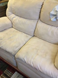 Cleaning a microfiber suede couch with hydrogen peroxide instead of rubbing alcohol.