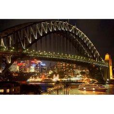 Australia NSW Sydney Harbour Bridge Tour Boat at Night Canvas Art - David Wall DanitaDelimont (26 x 17)