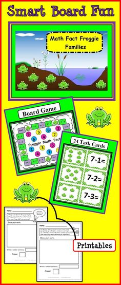 Math Fact Froggie Families:  Smart Board, Game Board, Task Cards and Printables