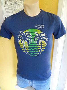Daytona Beach des années 1980 vintage tee shirt  bleu par sideburns