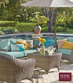 Wicker furniture for the patio that's full of style and comfort. Our six-piece seating set is made of 100% cashmere wicker and has weather-resistant cushions. Enjoy poolside lounging or the garden with this set of patio furniture. Your outdoor living space will be complete with the right outdoor furniture to make it a comfortable spot to relax. Pair with the right outdoor decorations and you've got the ideal space for warmer months. Shop now at Home Decorators Collection.