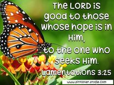 The LORD is good to those whose hope is in him, to the one who seeks Him.