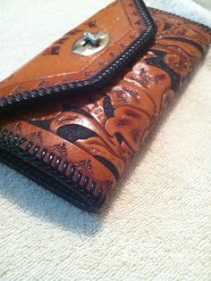 Thick western leather work wallet on Etsy, $10.00