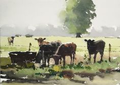 wet-in-wet evoking weather & light... Misty Morning by Yardley, John