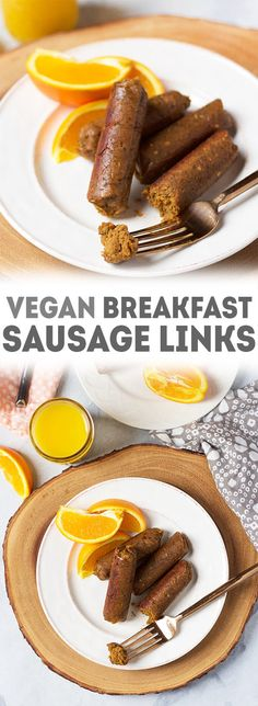 Get the recipe for vegan breakfast sausage links! They're SO incredibly flavorful and simple to make. Prep a bunch ahead of time for easy vegan breakfasts! via @karissasvegankitchen