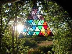 Rainbow Stained Glass Triangle by ravenglassgirl on Etsy