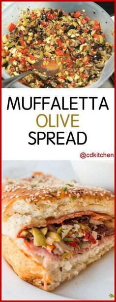 Muffaletta Olive Spread - Spiced, chopped olives in oil makes a great secret ingredient in muffaletta sandwiches or a tapenade-style topping for crackers or bruschetta. Muffaletta Olive Spread Recipe, Muffuletta Recipe, Muffuletta Sandwich, Tapenade, Olive Recipes, Italian Recipes, Croatian Recipes, Recipes With Olives, Gourmet