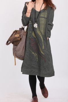 Linen Line applique dress. $69.00, via Etsy.