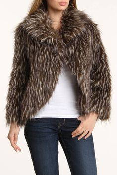 Faux Fur Coat In Brown.