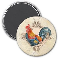 Vintage Rooster Magnet - via Zazzle