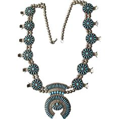 Spectacular Vintage ZUNI Needle Point Sterling Silver & Turquoise Squash Blossom Necklace found at www.rubylane.com @rubylanecom
