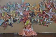 Pinwheel wall decoration - photo booth,  shabby chic, backdrop