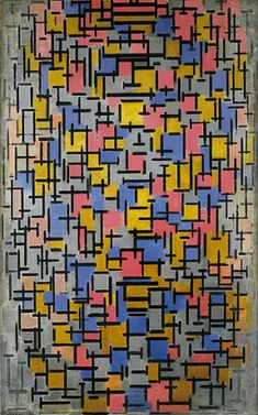 Piet Mondrian, 'Composition' (1916) || Dutch De Stijl(trans: The Style)(Neo-Plasticism) (Prominent) (1872-1944). The De Stijl Movement  was split between Mondrian's Neo-Plasticism (horizontal lines) and van Doersburg's Elementalism (diagonal lines).