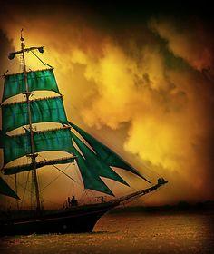 green sails gold sky