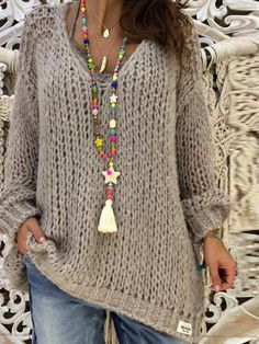 Plus Size Light Gray Basic Knitted Shirts & Tops – Flipom Knit Shirt, Winter Sweaters, Women's Sweaters, Loose Knit Sweaters, Winter Dresses, Dress Winter, Cardigans For Women, Pullover, Long Sleeve Sweater