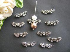 10, 20, 50, 100 Metallperlen Flügel Schmetterlingsart filigran silberfarben,