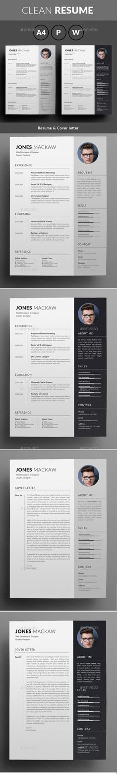 Clean #Resume Design Template - Resumes #Template #Stationery Design. Download here: https://graphicriver.net/item/resume/19451218?ref=yinkira