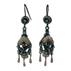 Preowned Victorian Silver And Turquoise And Garnet Earrings ($475) ❤ liked on Polyvore featuring jewelry, earrings, black, garnet jewelry, silver earrings, green turquoise earrings, silver dangle earrings and victorian garnet earrings