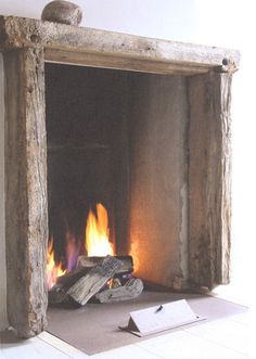 Love the large rustic wide open fireplace - can see if large metal running horse screen in front of it and a hearth to sit on that wood can be stored underneath. Rustic Fireplace Decor, Wood Mantle, Rustic Fireplaces, Open Fireplace, Fireplace Design, Fireplace Mantels, Fireplace Ideas, Simple Fireplace, Primitive Fireplace