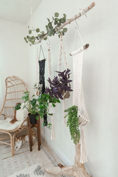 Macrame Plant Hanger display by Larks and Leo. Shop modern bohemian decor on Etsy! Put your favorite indoor plants on display with a beautiful macrame plant hanger. Or give one as a gift to someone sp Indoor Plant Hangers, Macrame Plant Hangers, Hanging Plants, Indoor Plants, Modern Bohemian Decor, Bohemian Furniture, Boho Decor, Rattan, Beaded Curtains