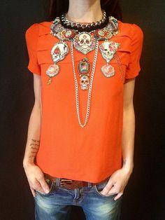 Statement bib necklace  Frida Kahlo nekclace  by beadsofaquarius, $731.00