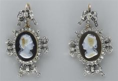 Earrings with cameo portraits of du Barry and Pompadour – 19th century (Compiègne).