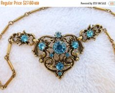 ON SALE Signed Coro pendant necklace gold tone with aqua blue rhinestones AF26