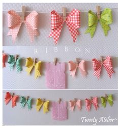Here is the garland made using the Origami bow folding tutes http://corrieanne.com/2011/05/20/
