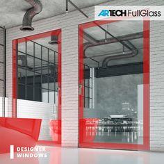 Loft style bathroom, red painted glass windows, big windows Red Windows, Painting On Glass Windows, Bathroom Red, Loft Style, Red Paint, Entrance Doors, Window Design, Bathroom Styling, Luxury