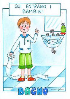 maestra Nella: Cartelloni per la porta del bagno