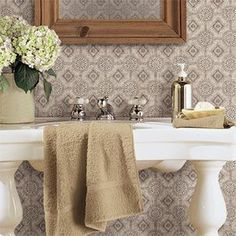 Give a small bathroom big personality with a standout wallpaper print. It is a budget conscious alternative to tile and you no longer have to worry about humidity. Shown: Punched Tin AC4436, Country Keepsakes collection by /YorkWall_Co/