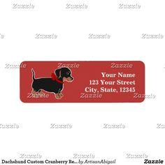 Dachshund Custom Cranberry Return Address Labels; ArtisanAbigail at Zazzle