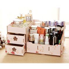 Makeup Storage Box, Cosmetic Storage, Makeup Box, Wooden Organizer, Wooden Storage Boxes, Wooden Boxes, Desk Organization Diy, Office Storage, Makeup Train Case