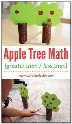 This apple tree math activity teaches kids to compare quantities and decide which is greater than and which is less than. Such a fun idea for Pre-K and K students! || Gift of Curiosity