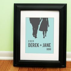 Personalized Wedding Gift - Couples Silhouette - Choose your text and colors. $22.00, via Etsy.