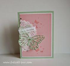 Stampin'UP! Spitzendeckchen, Big Shot - Thinlits Formen Schmetterlinge, Perpetual Birthday Calendar, Spruch-Reif, Herz, Glitzerpapier