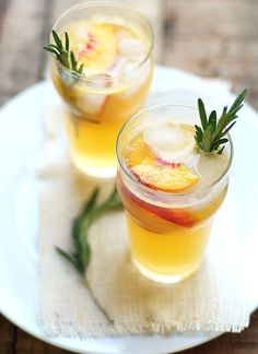 Peach & Rosemary Cocktail #recipe