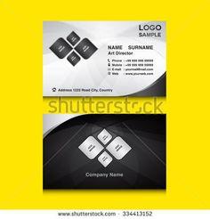 silver & black Business card design template vector illustration