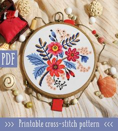 Modern cross stitch patterns by StitchingLand Easy Cross Stitch Patterns, Simple Cross Stitch, Embroidery Hoop Art, Cross Stitch Embroidery, Embroidery Ideas, Digital Pattern, Cross Stitching, Etsy, Pattern Flower