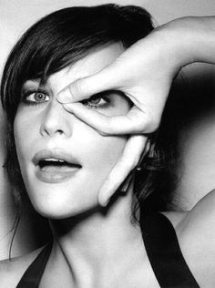 Liv Tyler silly face, black & white