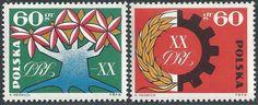 POLAND 1964 1244-5 POLISH PEOPLE REPUBLIC PEASANT-WORKER ALLIANCE SYMBOLS MINT A
