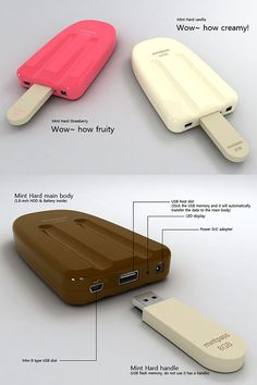 Mintpass Mint Hard concept USB & hard drive Mae:I love ice cream. Technology Gadgets, Tech Gadgets, Electronics Gadgets, Usb Drive, Usb Flash Drive, Handy Gadgets, Objet Wtf, Batterie Portable, Phone Accesories
