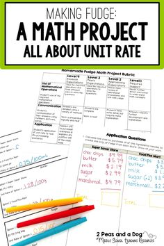 "Unit Rate Math Project. Students are given a real chocolate fudge recipe, prices from two different grocery stores and asked to find the better buy for their employer ""Sweetness Bakery"". This project reinforces basic adding, subtraction, multiplication and division skills as well as decimals, rates and unit rate to solve all the math questions in this package. ($)"