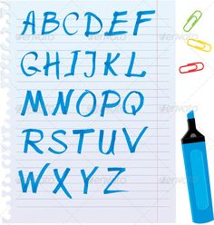 Alphabet Set - Letters are made of Blue Marker.